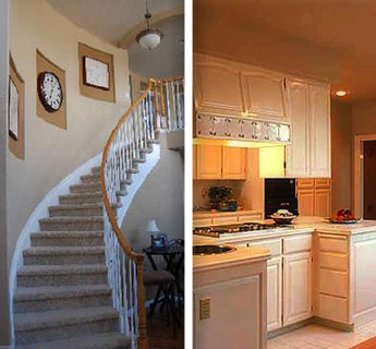 Painted Walls Along Staircase and Newly Painted Kitchen